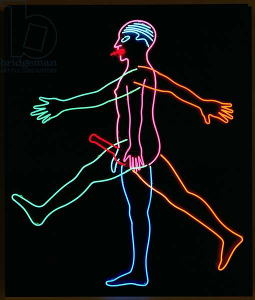 Marching Man, 1985 (neon tubes on aluminium panel)