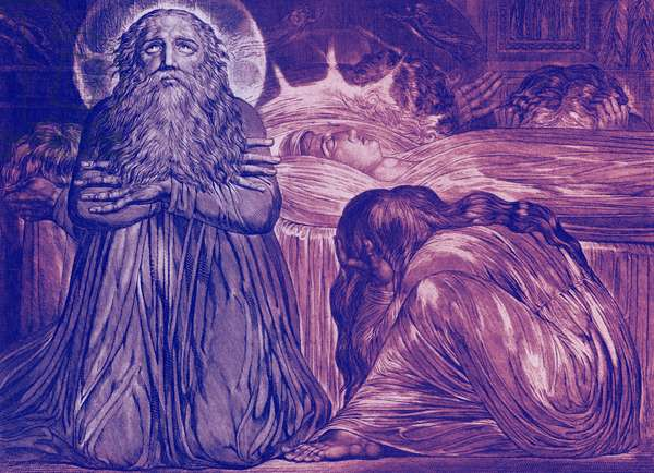 Ezekiel Kneeling By the Death-Bed of his Wife by William Blake