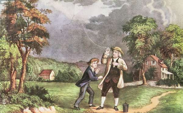 Franklin's experiment in electricity c.1746, pub. by Currier and Ives (print)