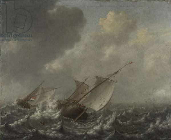 Vessels on a Choppy Sea, 1620s (oil on canvas)