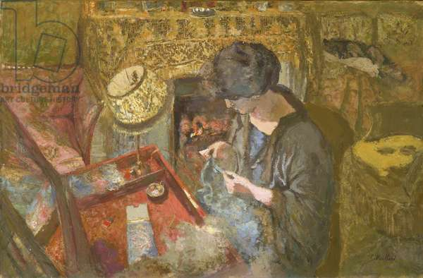 The Small Drawing-Room: Mme Hessel at Her Sewing Table, 1917 (Oil and gum tempera on paper, glued to canvas)