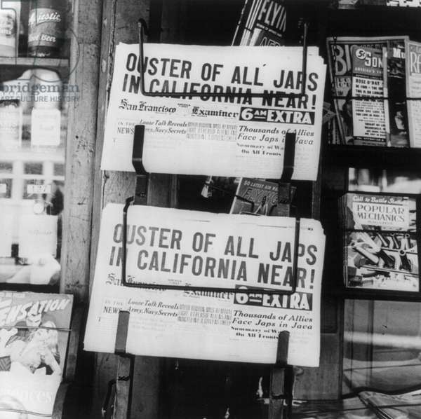 Newspaper headline in California after the bombing of Pearl Harbor, 1942 (b/w photo)