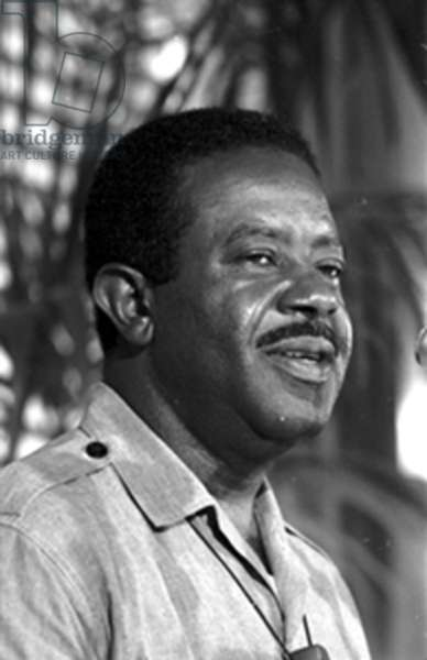 Rev. Ralph David Abernathy speaks at the National Press Club luncheon, 1968 (b/w photo)