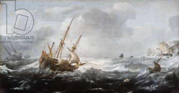 Ships in a Storm on a Rocky Coast, 1614-8 (oil on panel)