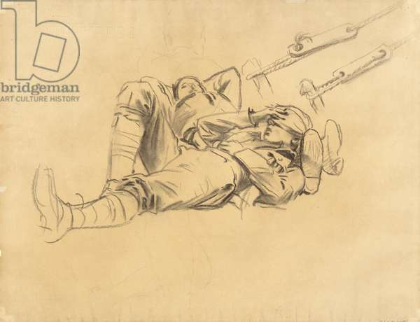 "Study for ""Gassed"", 1918-9 (charcoal and graphite on laid paper)"