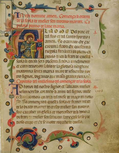 Historiated initial 'A' showing St. Theodore, from a Mariegola, 1350 (ink on vellum)