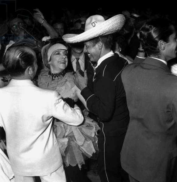 Elsa Schiaparelli and Jean Sablon at Jacques Fath'S Party in Corbeville Castle August 03, 1952 (b/w photo)
