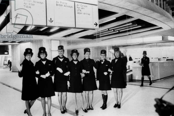 Roissy Airport Near Paris : Stewardesses (With Uniform By Balenciaga) during First Day Opened March 07, 1974 (b/w photo)