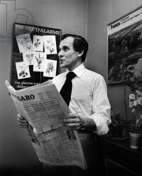 French Writer Jean D'Ormesson, Journalist, Director of Paper Le Figaro here in his Office 1974-1977 (b/w photo)