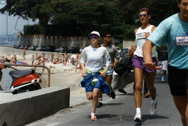 Madonna during Jogging at Cannes Festival on May 16, 1991 (photo)