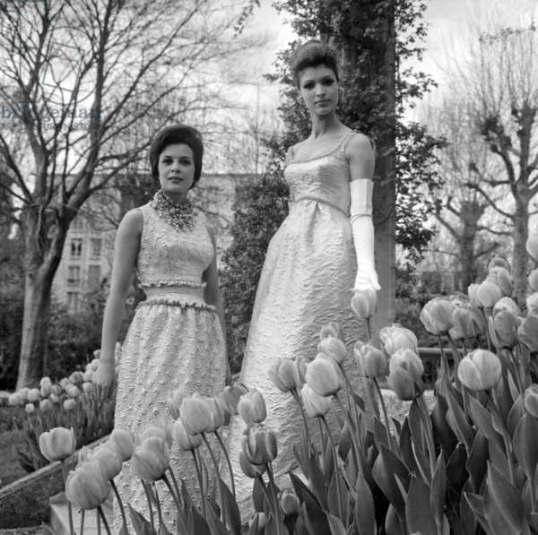 Presentation of Evening Dresses on April 30, 1963 : on L : Model By Jeanne Lanvin and on R By Jacques Heim (b/w photo)