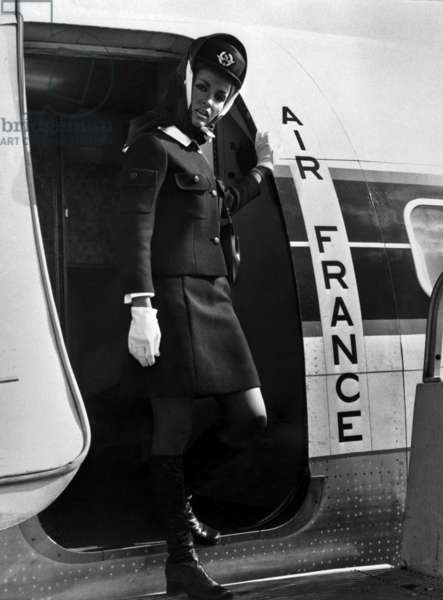 The New Winter Uniform By Balenciaga For The Stewardess of Air France, October 2, 1969 (b/w photo)