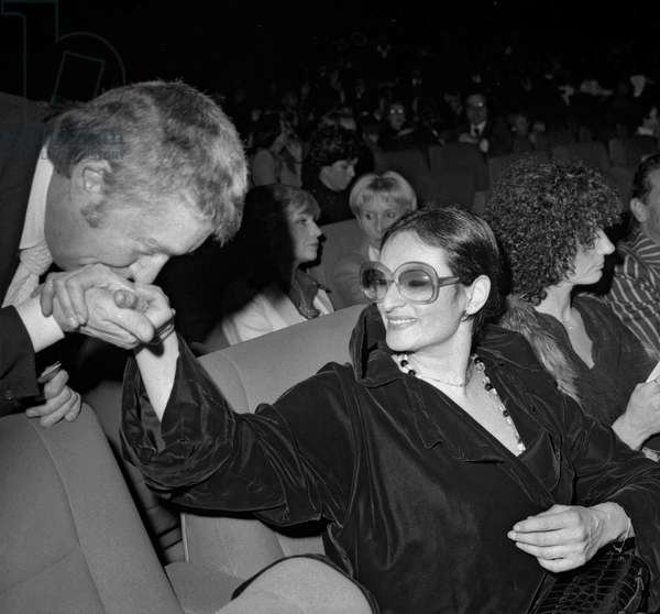 Jean Michel Rouziere and French singer Barbara (Monique Andree Serf) with a friend at premiere of RaymondDevos at the Olympia, Paris, December 13, 1968 (b/w photo)
