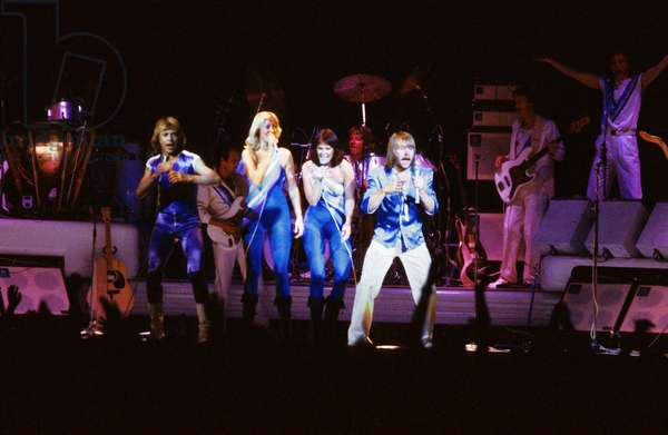 Abba Group on Stage in 1979 Abba : A Pour Annifrid, B Pour Benny, B Pour Bjorn, A Pour Agnetha (photo)