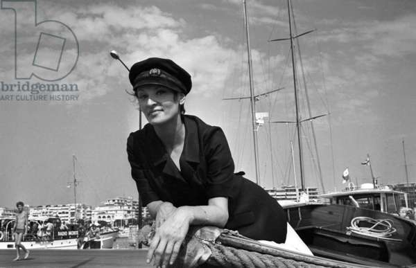 French Singer Barbara (Monique Andree Serf) in Cannes, 1966 (b/w photo)