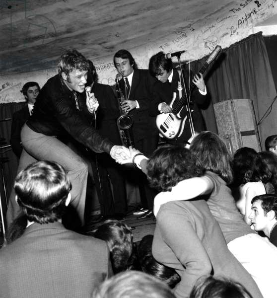 Johnny Hallyday Celebrating The 6Th Anniversary of his Beginnings on Stage on February 26, 1966 (b/w photo)