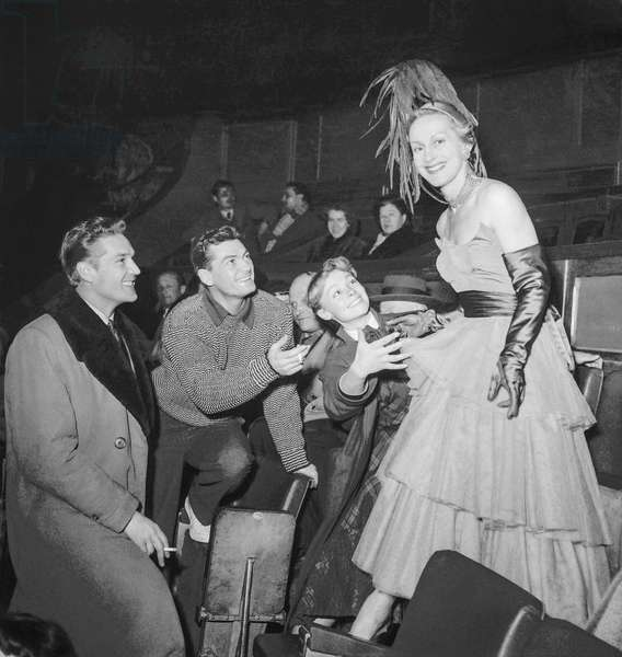 Rehearsal of the Gala of Union, Cirque d'Hiver, Paris, February 20, 1952 : French actors George Marchal, Jean Marais, Dany Robin and Helene Perdriere (dress by Elsa Schiaparelli) (b/w photo)