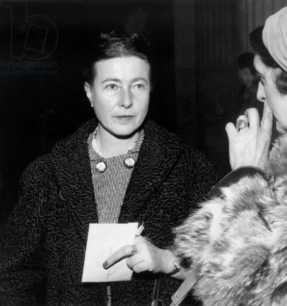 The French Writer Simone De Beauvoir, on December 10Th, 1957 (b/w photo)