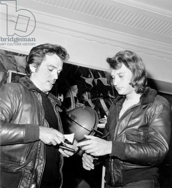 Director Philippe Labro and Johnny Hallyday (As Extra) on Set of Film Without Apparent Motive May 26, 1971 (b/w photo)