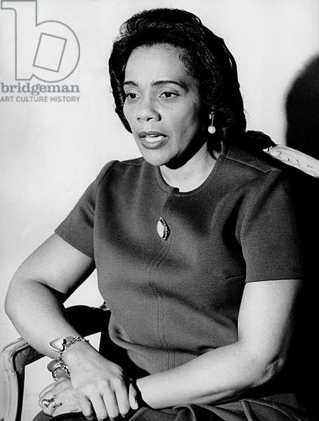 Press Conference in Paris of Coretta Scott King Widow of Martin Luther King February 20, 1970 (b/w photo)