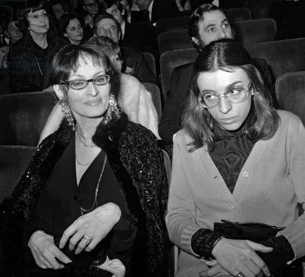 French singer Barbara (Monique Andree Serf) with a friend at premiere of singer -Adamo at the Olympia, Paris, January 10, 1969 (b/w photo)