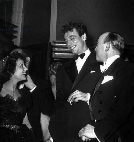 Edith Piaf, Yves Montand and Director Marcel Carne at Premiere of Film