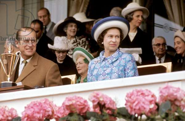 Queen Elizabeth Ii of England and her Husband Prince Consort Philip Duke of Edinburg at Horse Races in Longchamp (Paris) May 1972 (photo)