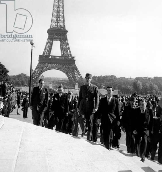 French General Charles De Gaulle and Georges Bidault (L) at Trocadero during Liberation of Paris Late August 1944 (b/w photo)