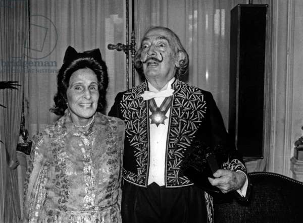 Salvador Dali and Gala With his Sword of Academician, May 8, 1979 (Suit By Lanvin), Paris (b/w photo)