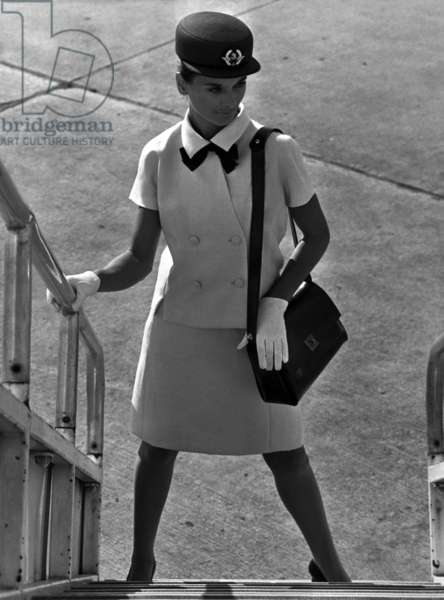 Air France Stewardess With A Summer Suit By Balenciaga, December 9, 1968 (b/w photo)