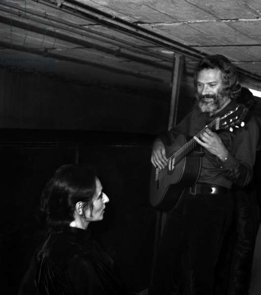 French Singers Georges Moustaki and Barbara (Monique Andree Serf) during a concert in Saint Ouen, 15 October 1969 (photo)