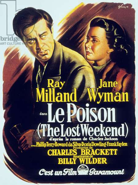 Affiche du film Le poison The Lost Weekend de BillyWilder avec Ray Milland et Jane Wyman 1945 (Palmed'or1946)