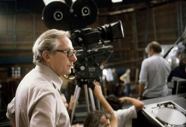Director Lewis Gilbert on set of film Moonraker 1979