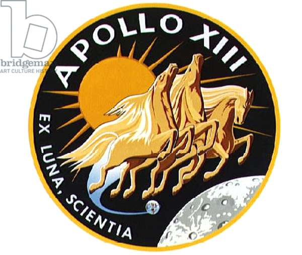 This is the insignia of the Apollo 13 lunar landing mission. Represented in the Apollo 13 emblem is Apollo, the sun god of Greek mythology, symbolizing how the Apollo flights have extended the light of knowledge to all mankind. The Latin phrase Ex Luna, Scientia means
