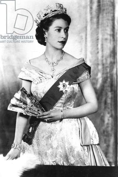 Queen Elizabeth II of England, 1952 (b/w photo)