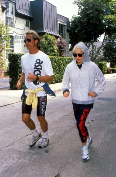 Madonna running with her coach, trainer Rob Parr May 1989