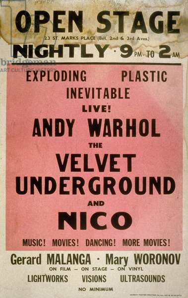 Poster for a concert with Andy Warhol, the Velvet Underground and Nico, at St. Mark's Place (Manhattan) : Exploding plastic inevitable live ! New York