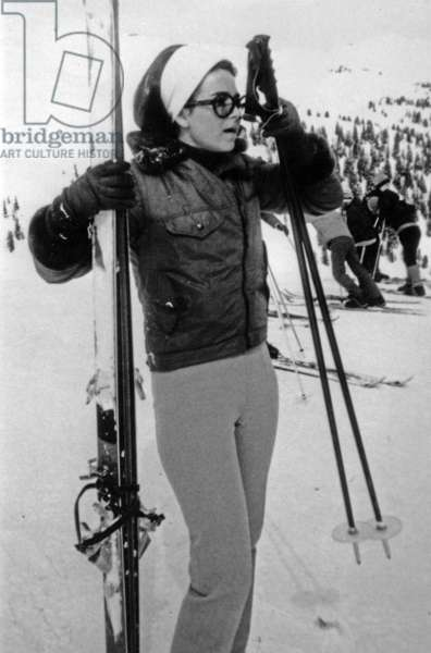 Michele Barzach on holidays at winter sports, Courchevel, 1968