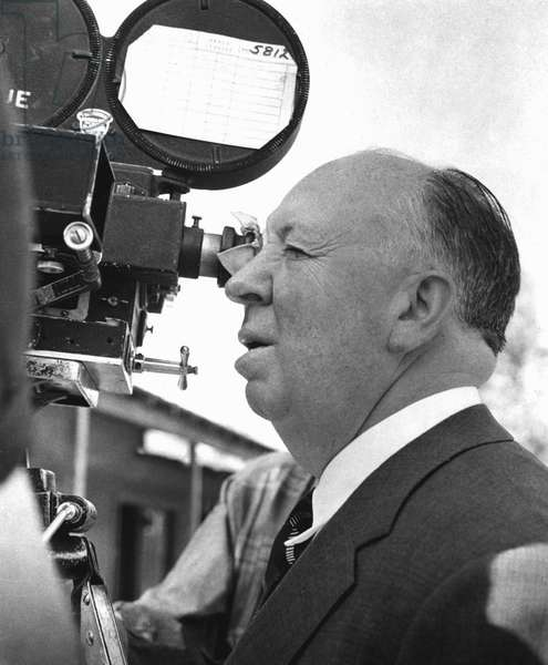 Director Alfred Hitchcock on set of film c. 1958