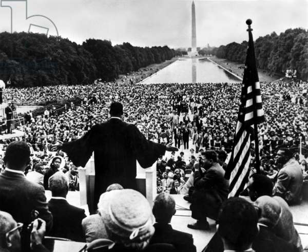 Martin Luther King  (1929-1968 black) American priest activist for Civil Right Movement black Americans making a speech outside Memorial Lincoln in Washington during a meeting of 200000 black and white people against segregation on May 17, 1957