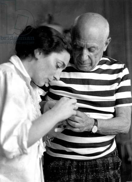 Pablo Picasso (1881-1973) with Jacqueline Roque after their Wedding in Vallauris (France), 1961