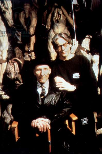 Director David Cronenberg with Peter Weller on set of film Naked lunch 1991