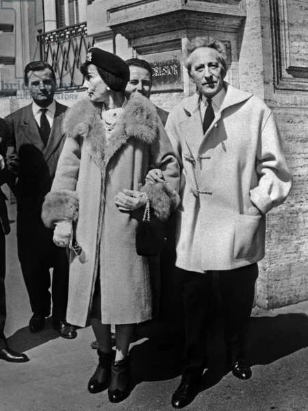 Gabrielle Chasnel aka Coco Chanel and Jean Cocteau in Rome in April 1958