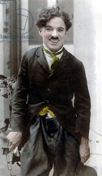Charlie Chaplin as Charlot, c. 1920 colourized document