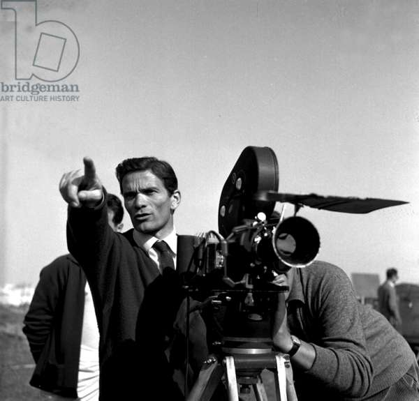 Director Pier Paolo Pasolini on set of film