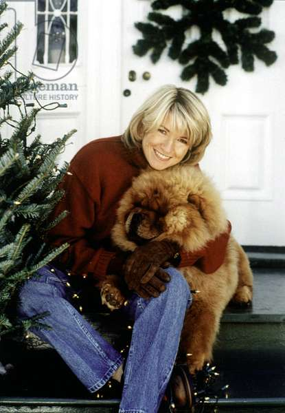Martha Stewart on her Living tvshow in 1991 with chow dog