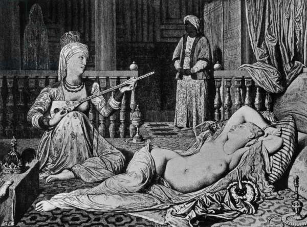 Odalisque with Slave, engraving by Guillaume aka William Haussoulier after Jean Auguste Dominique Ingres (1842)