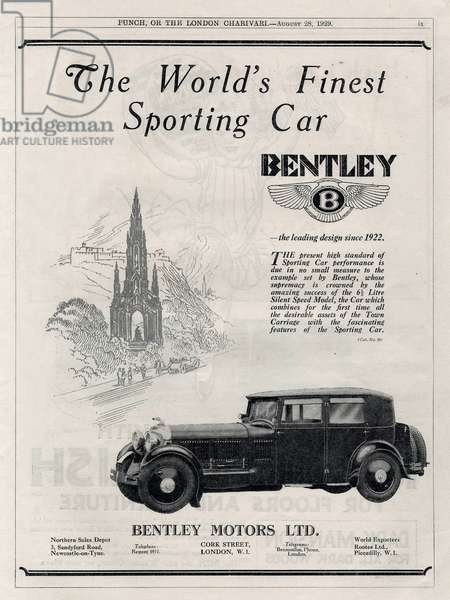 French advertisement for Bentley car 1929