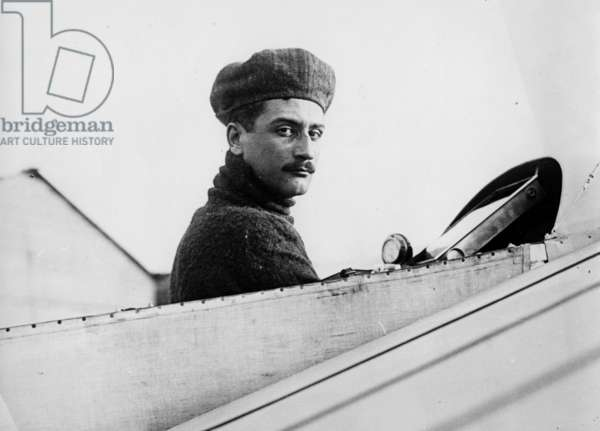 Roland Garros (1888-1918) French aviator, in his Bleriot plane 1911