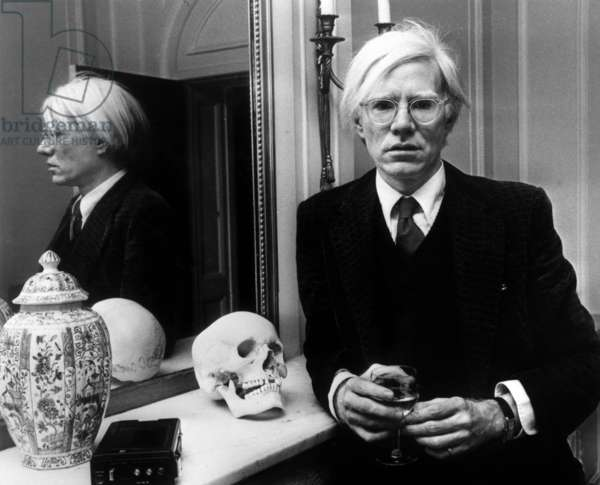 Andy Warhol in London, November 12th, 1975 (b/w photo)